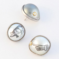 Carved pearl lapel pins